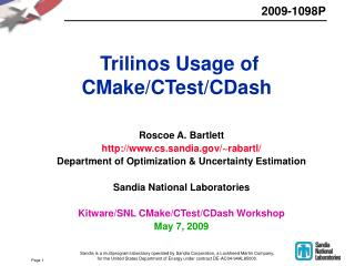 Trilinos Usage of CMake