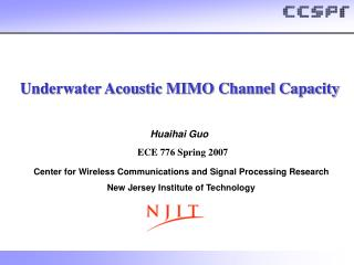 Underwater Acoustic MIMO Channel Capacity