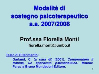 Modalit  di  sostegno psicoterapeutico a.a. 2007