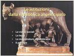 Le istituzioni: dalla repubblica al principato