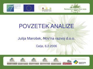 POVZETEK ANALIZE  Julija Maro ek, Nov na razvoj d.o.o.  Celje, 6.2.2006