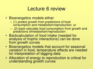 Lecture 6 review