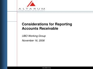 Considerations for Reporting Accounts Receivable