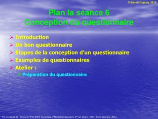 Plan la s ance 6 Conception du questionnaire