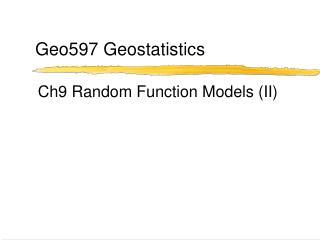 Geo597 Geostatistics