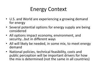 Energy Context