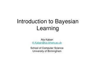 Introduction to Bayesian Learning