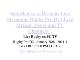 sharks vs dragons live streaming rugby pro d2 ( live st