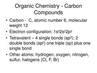 Organic Chemistry - Carbon Compounds