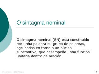 O sintagma nominal