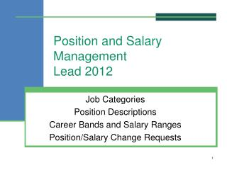 Position and Salary Management Lead 2012