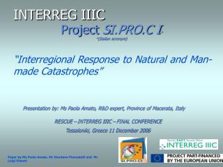 Project SI.PRO.C I       Italian acronym