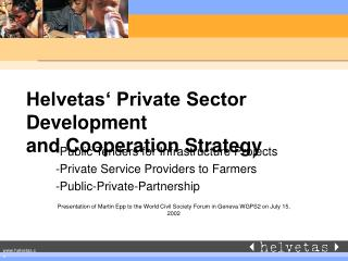 Helvetas  Private Sector Development and Cooperation Strategy