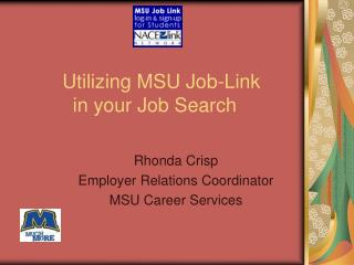 Utilizing MSU Job-Link  in your Job Search