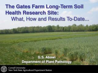 The Gates Farm Long-Term Soil Health Research Site:      What, How and Results To-Date...
