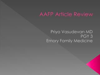 AAFP Article Review