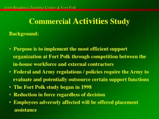 Commercial Activities Study