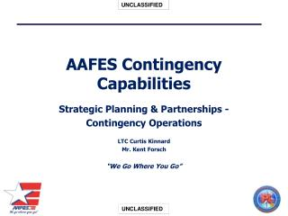 AAFES Contingency Capabilities  Strategic Planning  Partnerships - Contingency Operations  LTC Curtis Kinnard Mr. Kent F