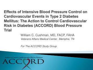 Effects of Intensive Blood Pressure Control on Cardiovascular Events in Type 2 Diabetes Mellitus: The Action to Control