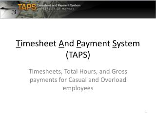 Timesheet And Payment System TAPS