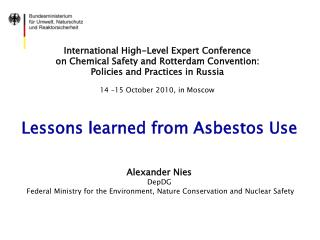 International High-Level Expert Conference  on Chemical Safety and Rotterdam Convention:  Policies and Practices in Russ