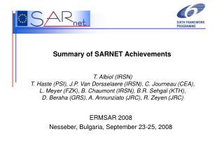Summary of SARNET Achievements
