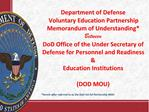 Department of Defense  Voluntary Education Partnership Memorandum of Understanding Between  DoD Office of the Under Secr
