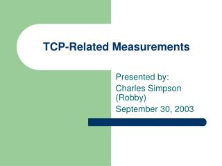 TCP-Related Measurements