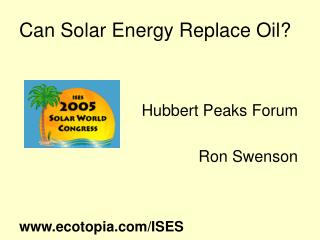 Can Solar Energy Replace Oil