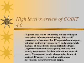 High level overview of COBIT 4.0