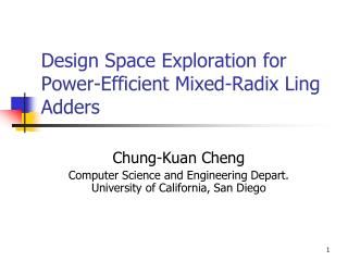 Design Space Exploration for Power-Efficient Mixed-Radix Ling Adders