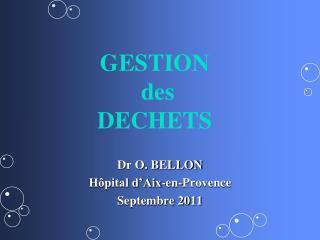 Dr O. BELLON H pital d Aix-en-Provence Septembre 2011