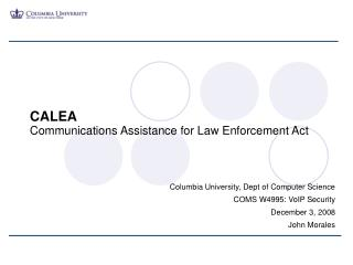 CALEA Communications Assistance for Law Enforcement Act