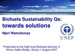 Biofuels Sustainability Qs:  towards solutions  Njeri Wamukonya
