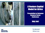 A Venture Capital Model for Africa   Presentation to: Botswana Resource Sector Conference  July 2007