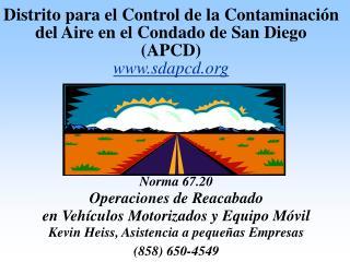 Distrito para el Control de la Contaminaci n del Aire en el Condado de San Diego APCD sdapcd