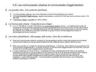 II.D. Les communaut s urbaines et communaut s d agglom ration
