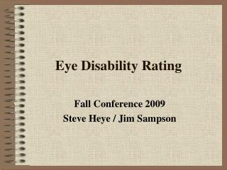 Eye Disability Rating