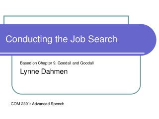 Lecture 9: The Job Search chapter 9