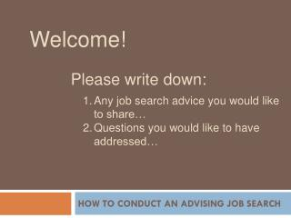How to conduct an advising job search