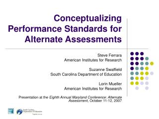 Conceptualizing Performance Standards for Alternate Assessments