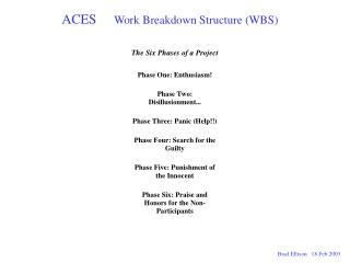 ACES       Work Breakdown Structure WBS