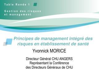 Principes de management int gr  des risques en  tablissement de sant