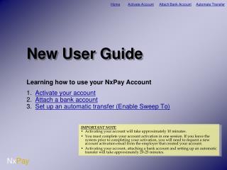 New User Guide