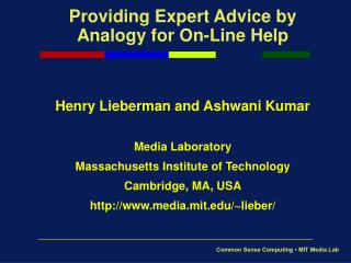 Providing Expert Advice by Analogy for On-Line Help