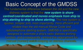 Basic Concept of the GMDSS