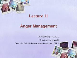 Lecture 11   Anger Management