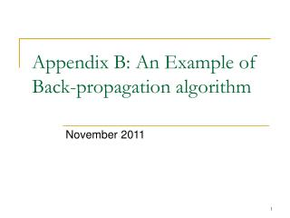 Appendix B: An Example of Back-propagation algorithm