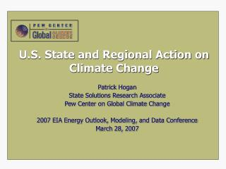 U.S. State and Regional Action on Climate Change