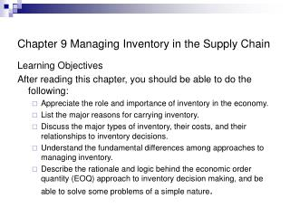 Chapter 9 Managing Inventory in the Supply Chain